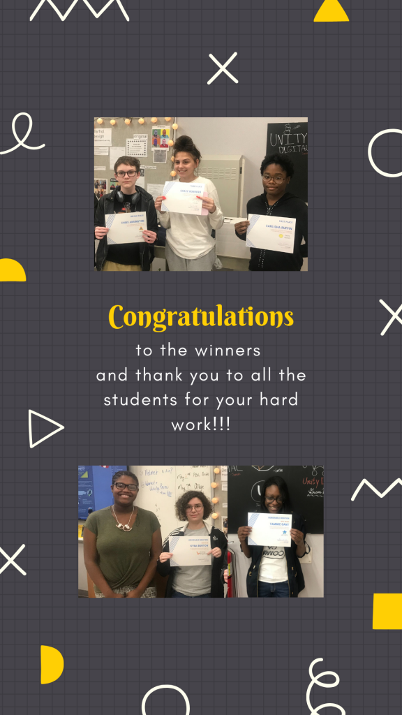 Congratulations to the winners and thank you to all the students for your hard work!