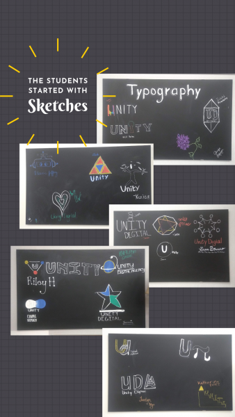 The students started with chalk sketches on blackboards