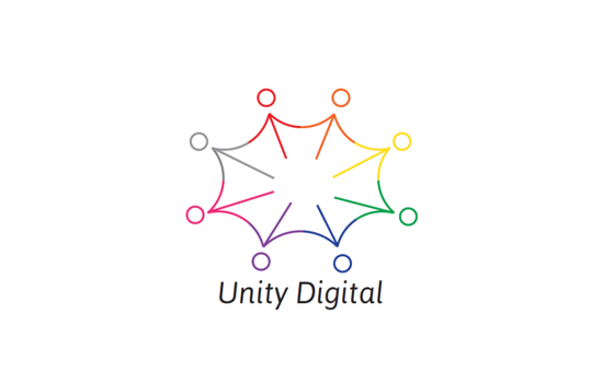 Unity logo with colorful splash