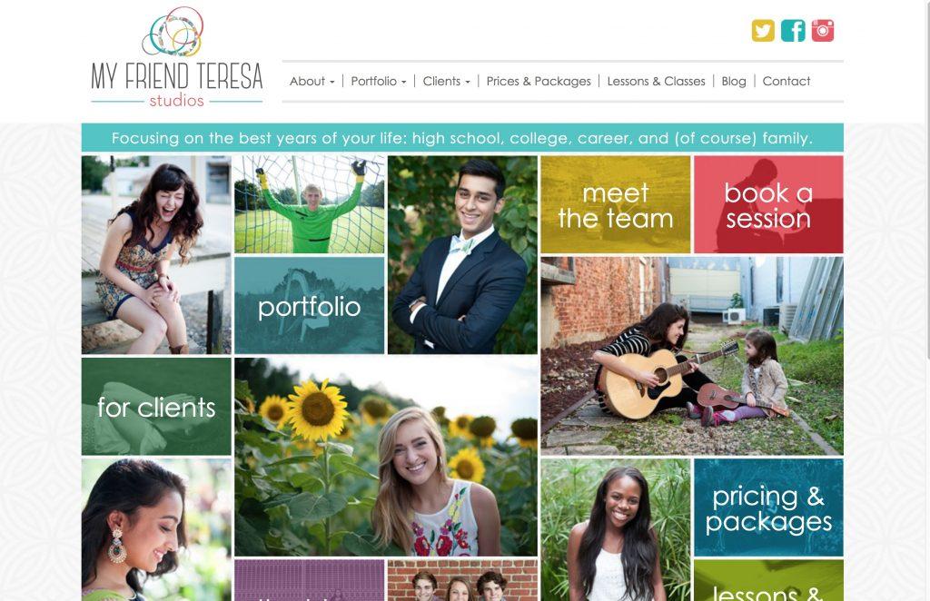 A screenshot of the old My Friend Teresa Studios website
