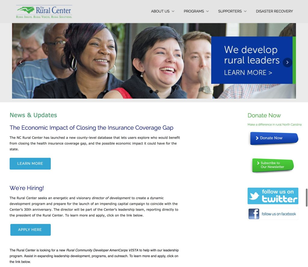 A screenshot of the Rural Center website before Unity redesigned it