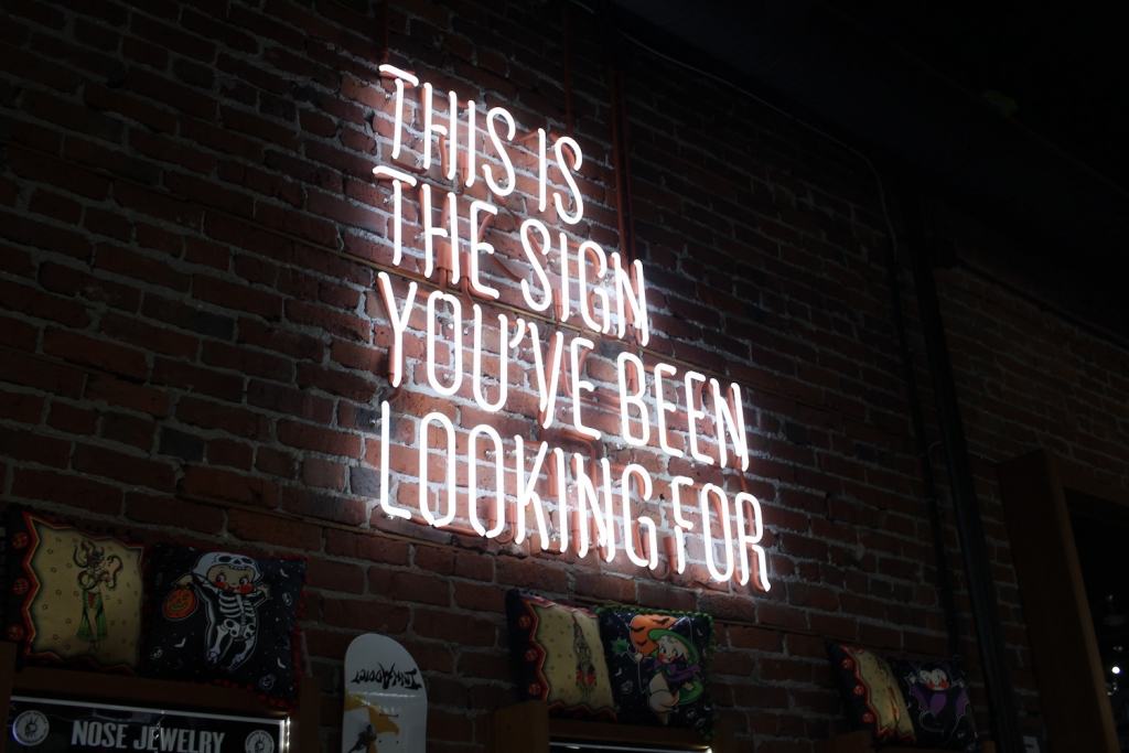 A neon sign on a dark brick wall that says: This is the sign you've been looking for.