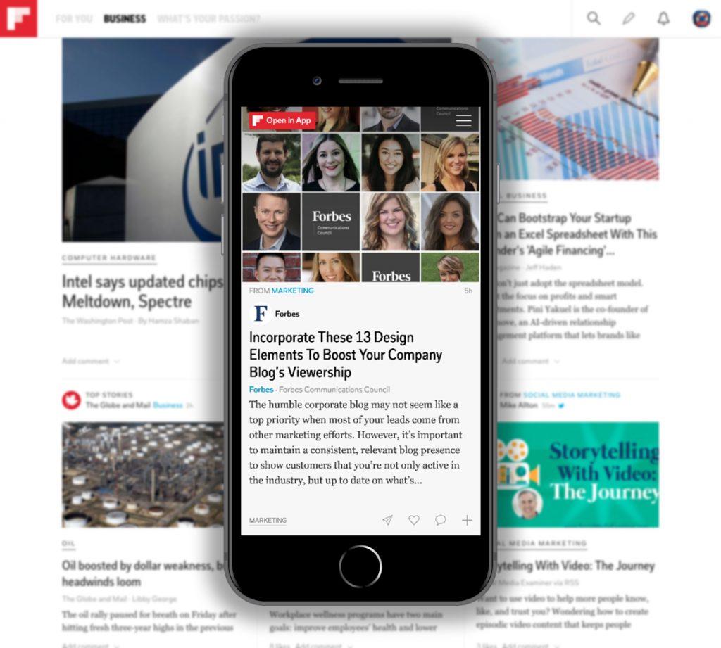 Mockup of Flipboard.com on an iPhone 8 Plus