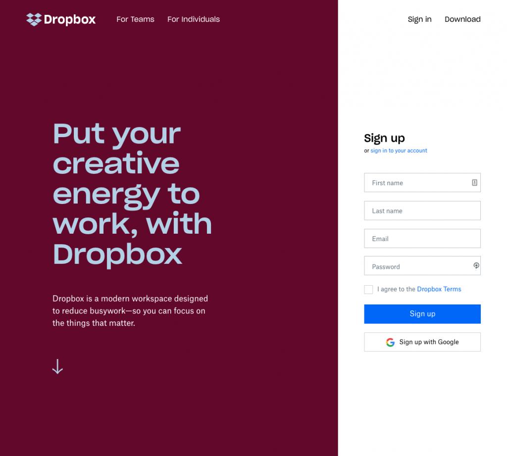 Screenshot of the Dropbox.com home page