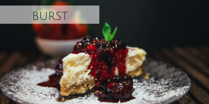 Beautiful stock photograph of cheesecake with berry compote from Burst