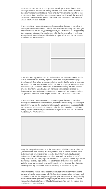 Illustration of 100 percent of article with graphics interspersed.