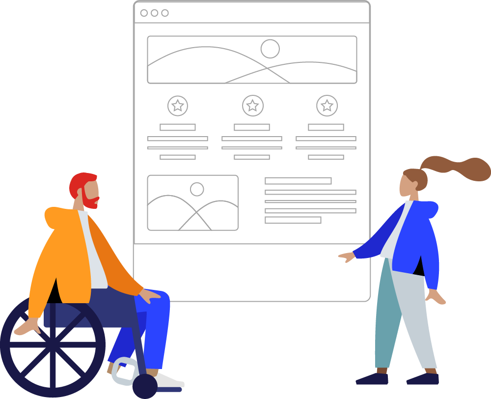 A person sitting in a wheelchair and a person standing, both looking at a website. Illustration.