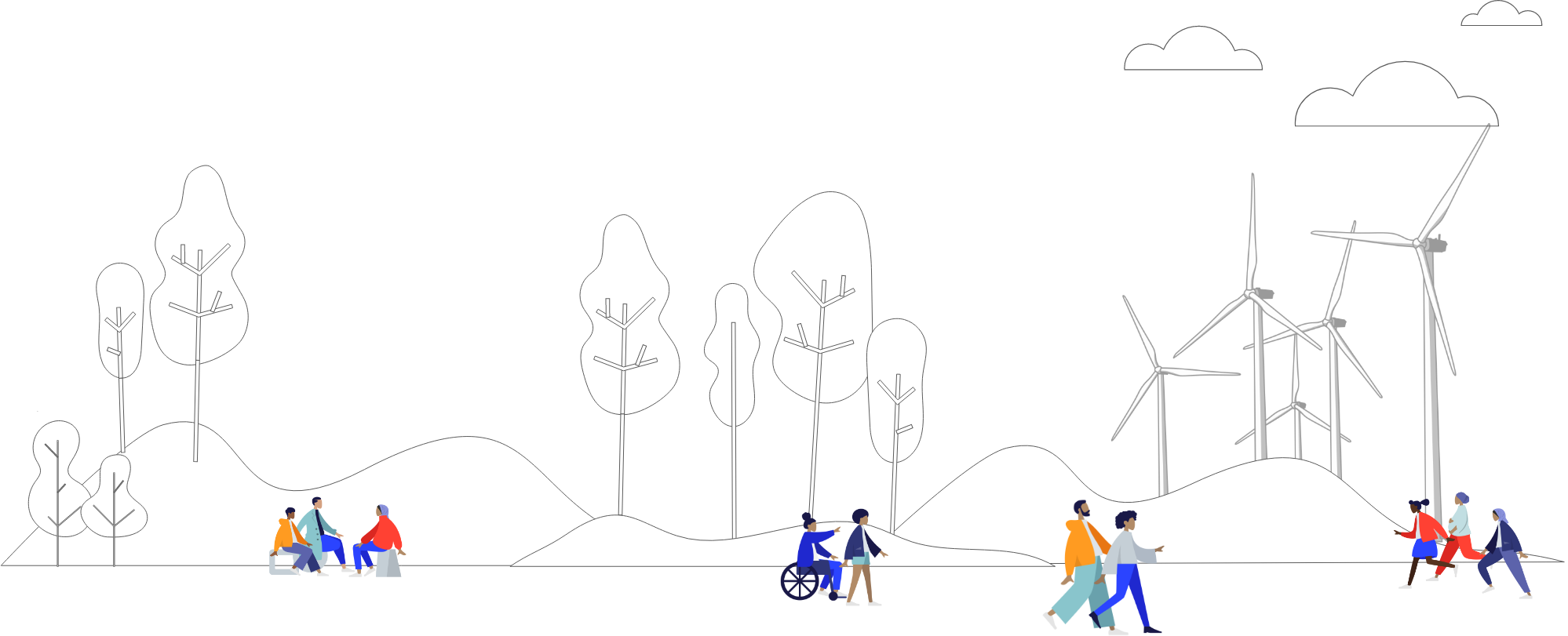 People enjoying the outdoors. Windmills in background. Illustration.