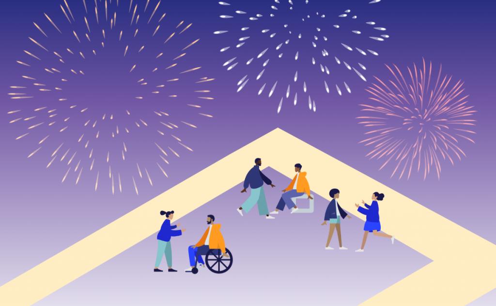People celebrating with fireworks. Illustration.
