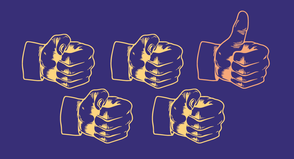 Five hands. One has its thumb up. Illustration.