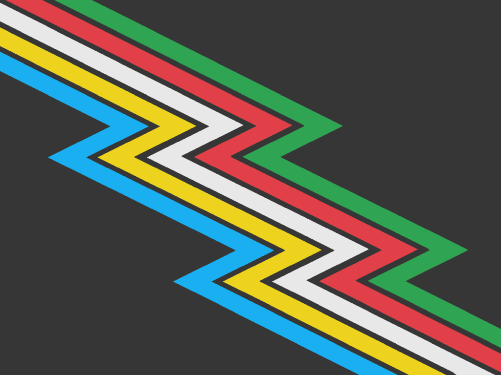 The Disability Pride flag, designed by Ann Magill. A charcoal gray/almost-black flag crossed diagonally from top-left to bottom-right by a lightning bolt band divided into parallel stripes of five colors: light blue, yellow, white, red, and green. There are narrow bands of the same gray between the colors.