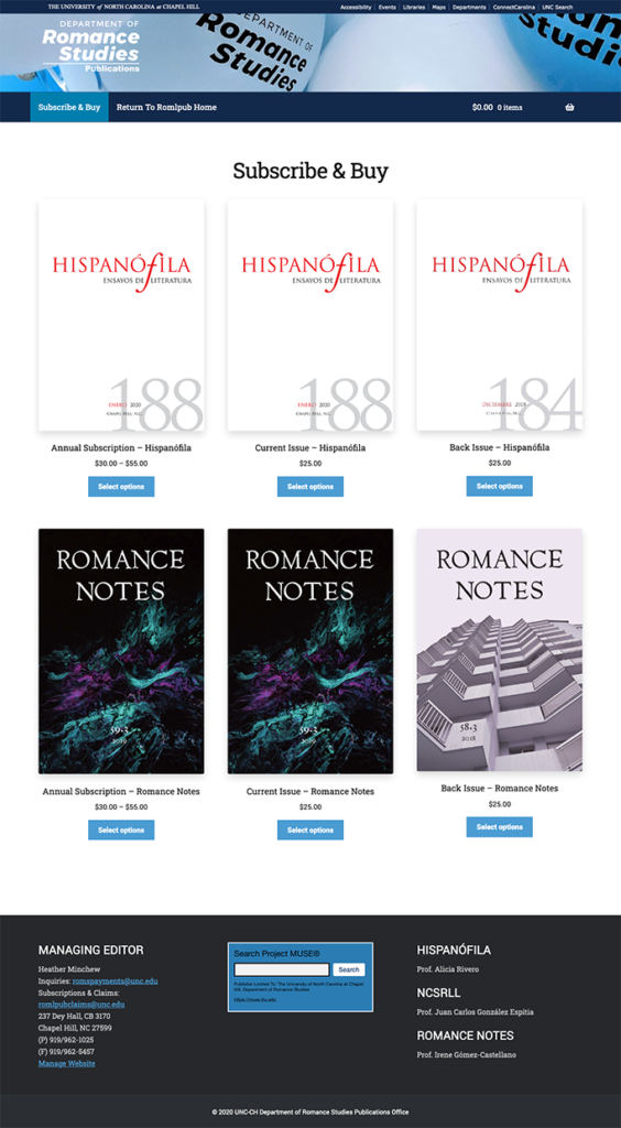 UNC Romance Studies Publications