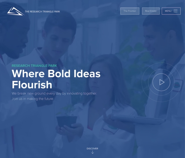 A home page with a dark blue background and the words 'Where Bold Ideas Flourish.'