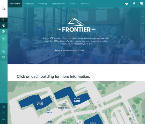 A website with a vertical and horizontal navigation, a blue background, and small text.