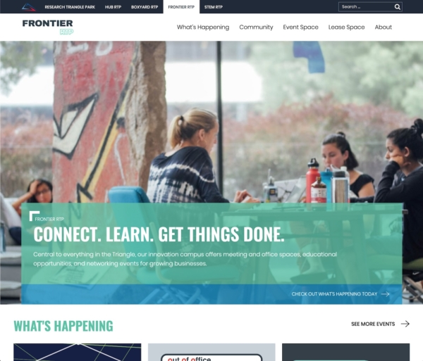 A website with a large photo of women collaborating in front of a big window. The text says 'Connect. Learn. Get Things Done.'
