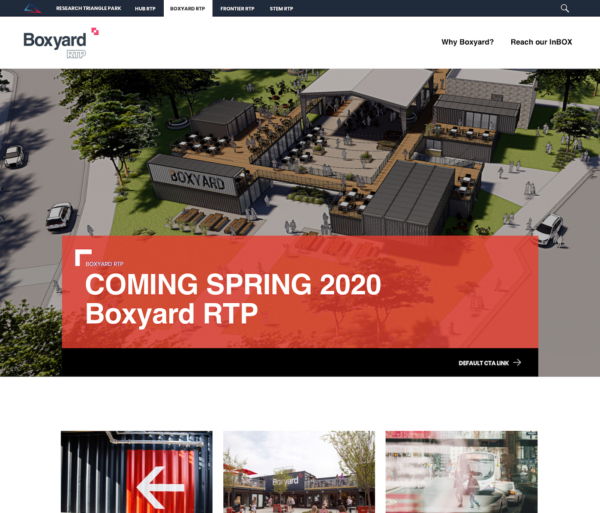 A website showing an architectural rendering with large text saying 'Coming Spring 2020: Boxyard RTP.'