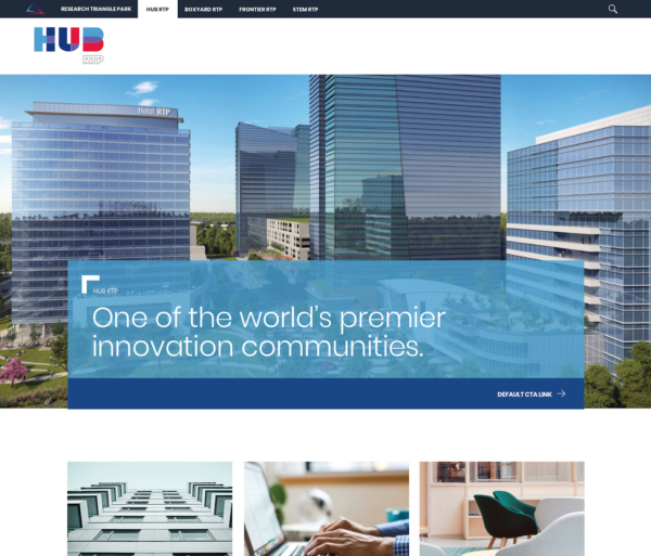 A website showing architectural rendering of large office towers with text that says 'One of the world's premier innovation communities.'