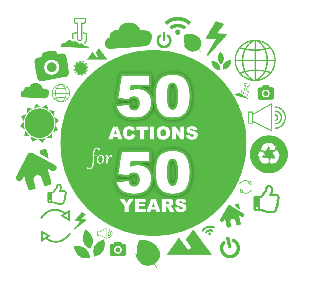 50 Actions for 50 Years logo.