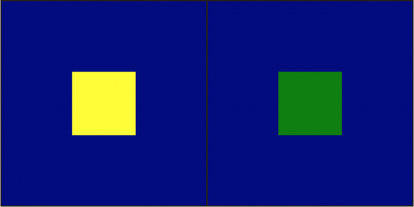 Small yellow box on a blue field next to a small green box on the same blue field.