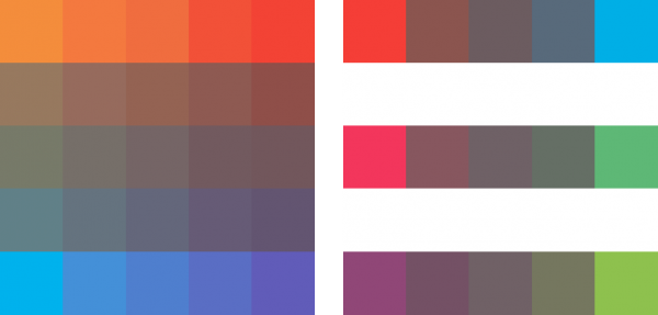 Illustration showing how colors are grayed or nuetralized with its opposite color