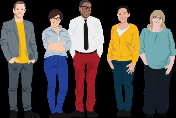 Five unique people. Illustration.