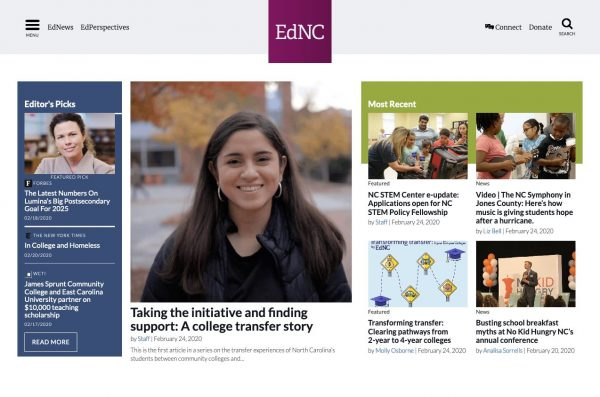 Screenshot of the EdNC website before Unity's redesign. The photo sizes are inconsistent and navigation items are hard to see.