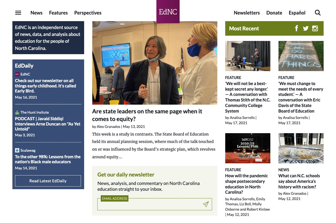 The new EdNC homepage showing more important content above the fold and a legible navigation.