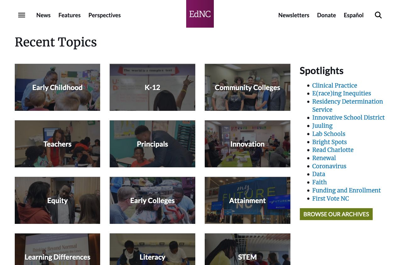 The redesigned Topics page showing the most popular topics and other important spotlights.