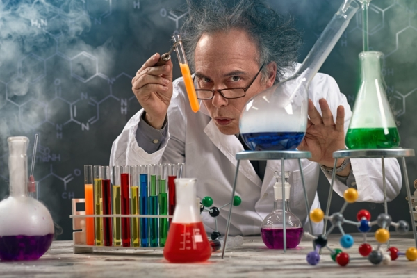 Wacky professor of chemistry experiment performed laboratory with lot of smoke