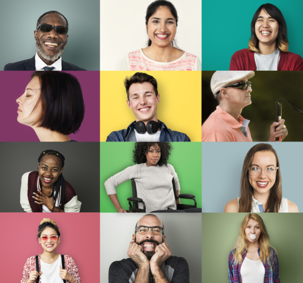 A grid of 12 people showing of their diverse disabilities.