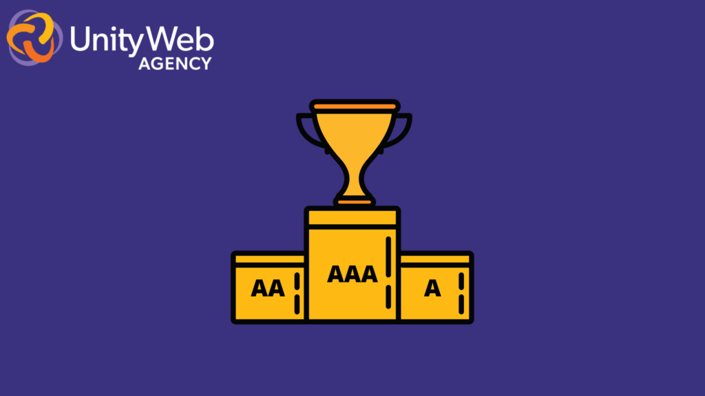A pedestal labeled with A, AA, and AAA, with a trophy in the middle