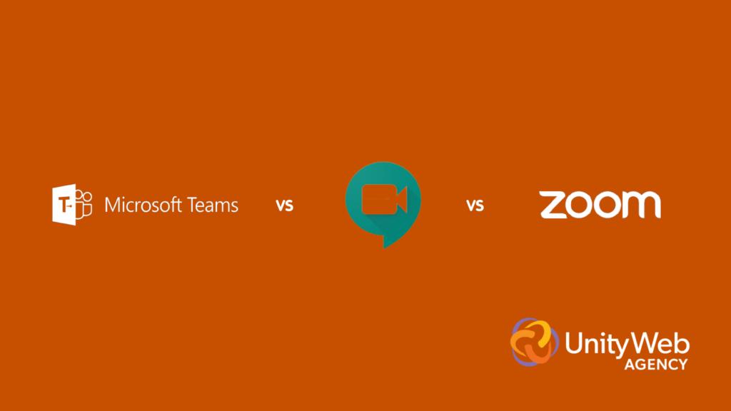 Microsoft Teams, Google Meets, and Zoom logos