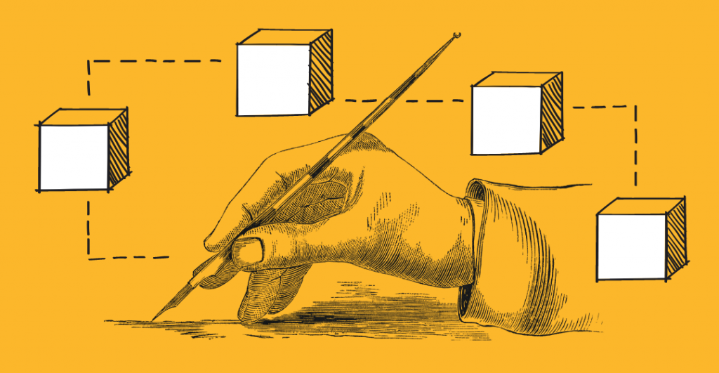 Illustration of a hand writing words