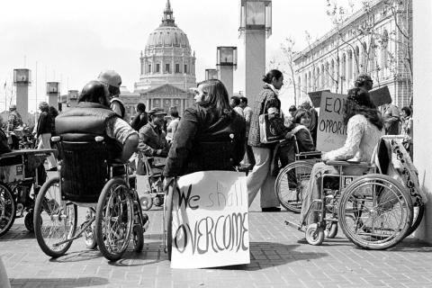 People with disabilities protesting