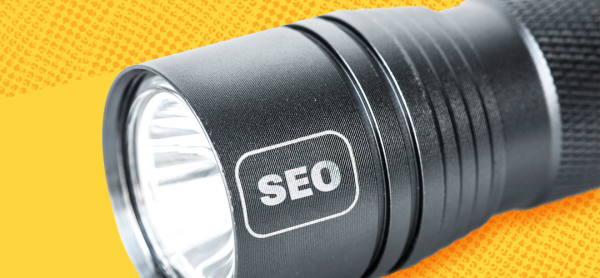 """A flashlight with """"SEO"""" imprinted on it"""
