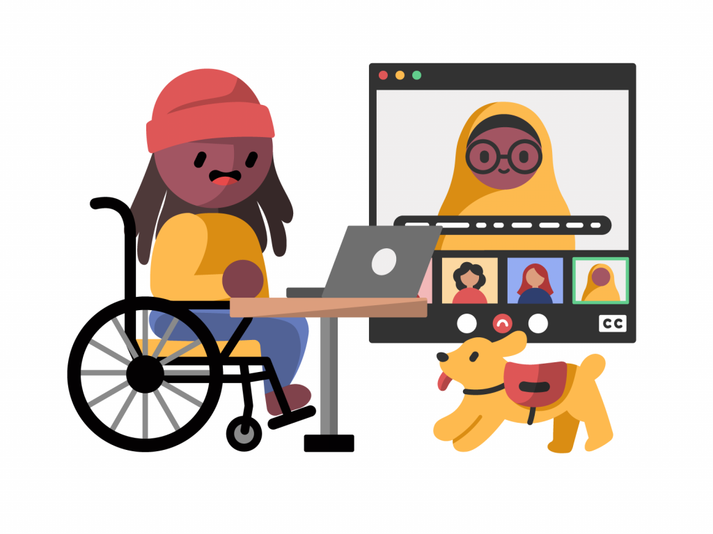 A dark skinned wheelchair user on a video call